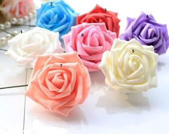 "100 PCS Dia.7cm/2.76"" Artificial Simulation PE Foam Rose EVA Single Head Camellia Wedding Chistmas Party Decorations Flowers"