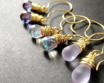 Teardrop Earrings Set of Three, Wire Wrapped Earrings, Gold. Lavender Collection. Handmade Earrings.