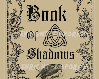 Book Of Shadows Witchy Spell Book Cover Digital Download
