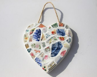 Floral Garden Mosaic Heart. Mosaic love heart. Victorian china mosaic picture. Vintage china. Home kitchen decor. Shabby chic wall hanging