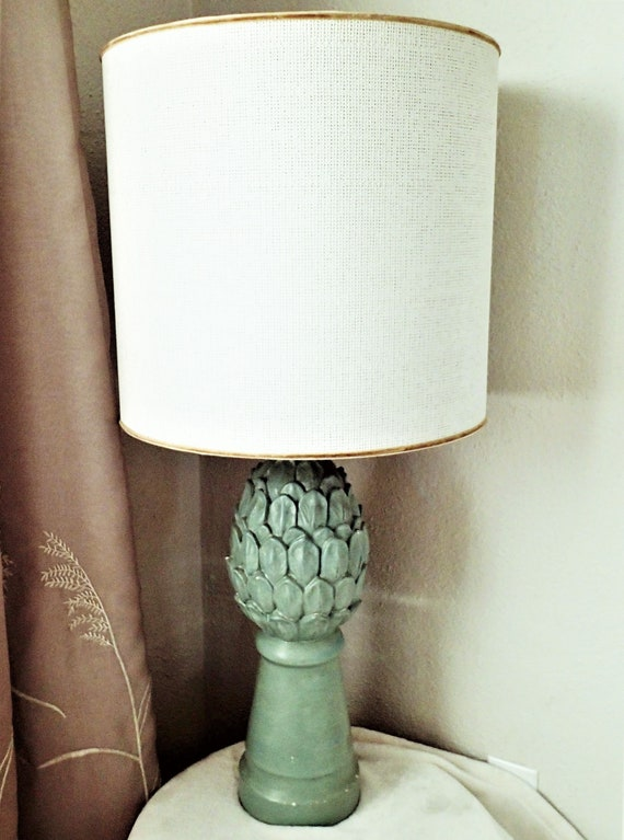 Hollywood Regency Artichoke Table Lamp Seafoam Green Plaster