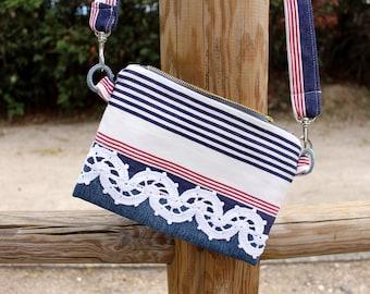 Crossbody bag Summer bag Birthday gift for sister Blue white bag Navy red blue bag Gift daughter Small bag Nautical bag for granddaughter