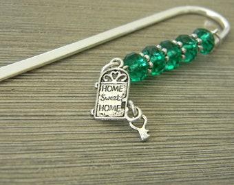 Front Door Bookmark with Green Glass Beads Shepherd Hook Steel Bookmark Silver Color Home Sweet Home Bookmark