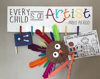 Painted Art Display Sign Large | Hand Painted | Picasso Quote | Children | Artist | Kids Room | art project display | home decor | paint