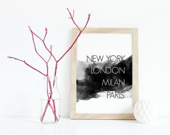 Fashion cities print, 8x10 digital print, new york london milan paris print, black and white decor, fashionista decor, gift for teens