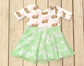 Baby Easter Dress, Size 6 Months, RTS, Infant Easter Dress, Baby Girl Easter Dress, Mint Baby Dress, Bunny Outfit, Lace Easter Dress