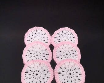 Crocheted Coasters Set of 6  Baby Pink