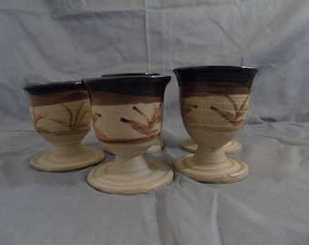 5 small goblets by rait pottery Scotland