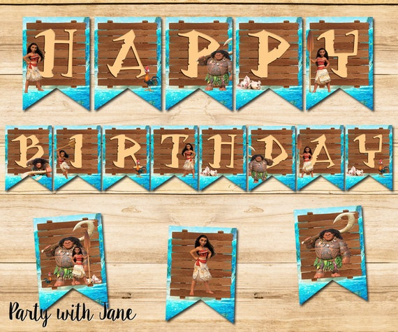 Moana Happy Birthday Banner Sign Bunting Party Decorations