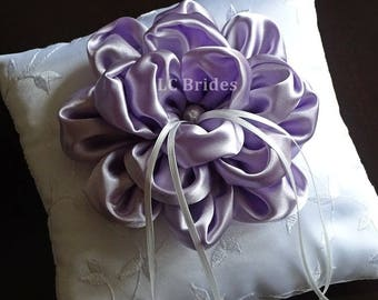 Ring Bearer Pillow, Wedding Pillow, Wedding Ring Pillow, White, Lavender, Embroider, Custom