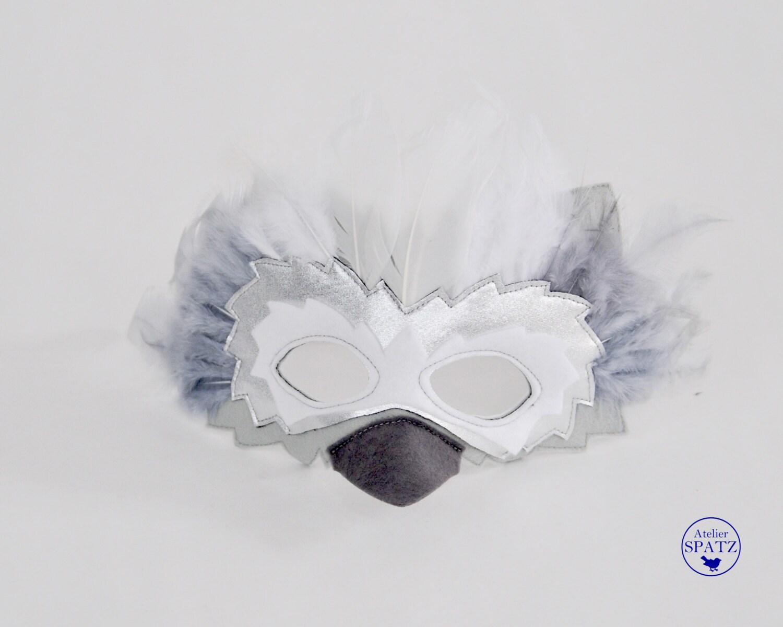 White Silver Snow Owl Mask White Bird Mask Feather Mask to