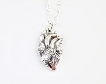 Collier coeur anatomique / / en argent Sterling coeur //Valentines jour bijoux