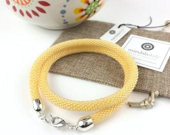 Light yellow beads tubular necklace/Beaded necklace/gift/tubular beaded crochet necklace/Handmade necklace
