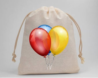 Balloons, Birthday Party, Muslin Bags, Candy Bags, Treat Bags, Favor Bags, Party Bags, Fabric Bags, Goodie Bags, Drawstring Bags, Set of 5