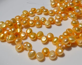 Yellow  large Dancing Freshwater Pearls  FULL STRAND
