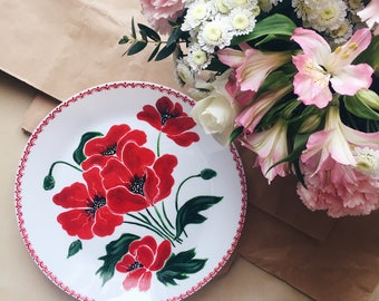 Hand Painted Plate / Flowers / Pattern