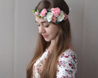 Flower crown Pink flower crown Floral crown Bridal flower crown Wedding flower crown Peony flower crown Hair wreath Floral headpiece Boho