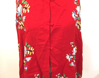 Vintage Wool Poncho, Embroidered, Medium Large, Red, 1960s, 1950s, Rare