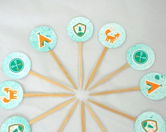 Outdoors Cupcake Toppers. Woodland theme. Camping Party. Wilderness Baby Shower. Fox Birthday. Arrow Party Supply. Tee Pee.