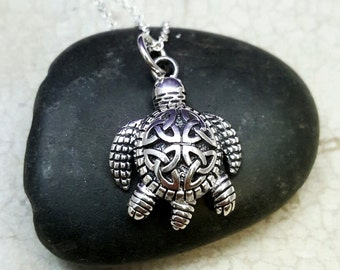 Turtle necklace. sterling silver turtle pendant. Tortoise. baby turtle necklace. celtic necklace. Tribal turtle necklace. Turtle jewelry