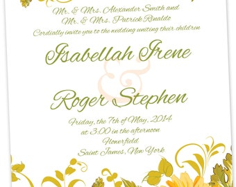 Floral Spring/Summer Wedding Invitations/Floral Pattern Invitations