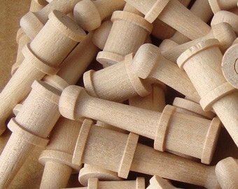 Turned Hardwood Shaker Pegs for Craft, Fairy Furniture Legs, Make Your Own Game Pieces, Dollhouse Furniture, Rubber Stamp Handles, Lot of 50