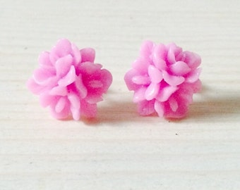 Gorgeous pink flower trio earrings