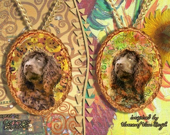 Irish Water Spaniel Jewelry Pendant - Brooch Handcrafted Porcelain by Nobility Dogs - Gustav Klimt and Van Gogh