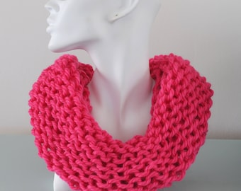 Pink Knitted Cowl - Chunky Wool Alpaca Infinity Scarf Reversible Bulky Winter Accessory Gift for Her by Emma Dickie Design