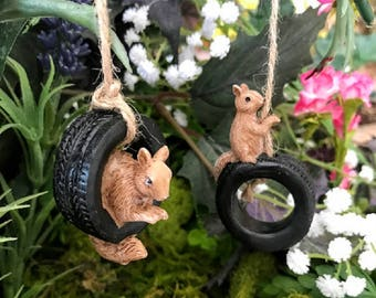 Miniature Squirrel Swinging in a Tire - Your Choice of 2 Designs!