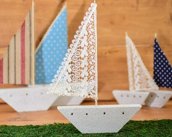 Ship Decorated,Concrete, Shio Fabric, Lace, Baptism, Christening, Events, Home Decor, Kids, Room, Gift