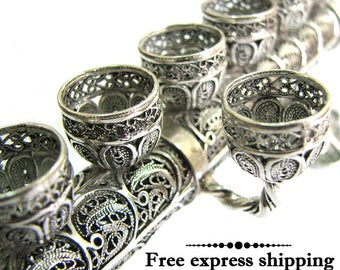 2 In 1, Hanukkah Menorah & Sabbath Candlesticks, 925 Sterling Silver, Filigree, Exclusive Menorah, Jewish Wedding Gift, Judaica ID915