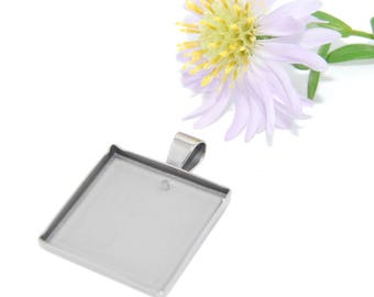 Stainless Steel Caboshon Pendant Tray Blanks Square 20x20mm