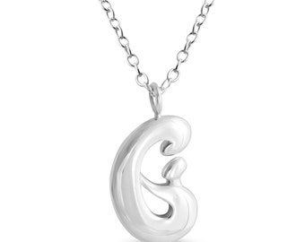 Mother and Child Hand in Hand Family Pendant Necklace #925 Sterling Silver #Azaggi N0798S