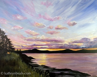 Saltspring Sunrise, British Columbia Landscape Painting - Photo Print on Paper