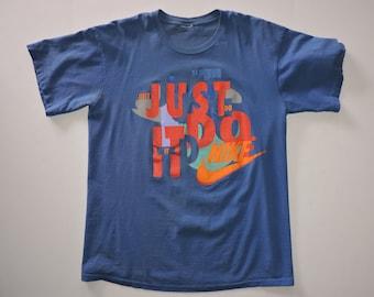RARE Vintage 80s Nike Just Do It Swoosh T-shirt L/XL USA Made