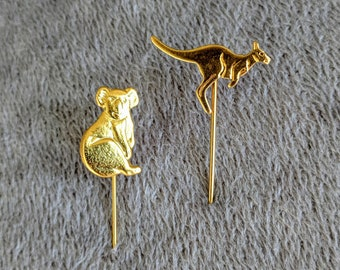 KANGAROO and KOALA BEAR - Lapel Stick Pins, Vintage Collectible, Australian Lapel Pins. Excellent Condition!
