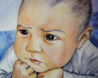 Hand painted custom water color portrait