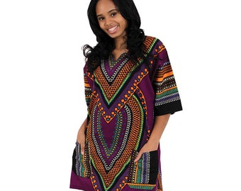 Africa Traditional Heart Of Africa Dashiki - Purple