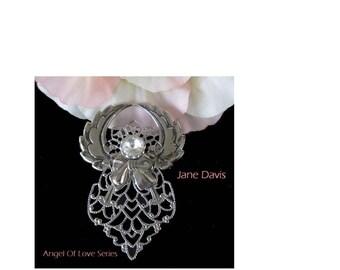 Angel Pin * Filigree Angel With Clear Rhinestone * Silver Tone Angle Pin * Signed JANE 1997 AOL
