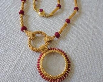 glass intaglio, beadwork necklace, ruby necklace gold, seed bead necklace, ruby necklace bead, ruby necklace for women, beadwork jewelry