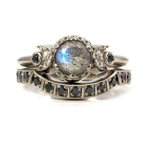 Modern Gothic Engagement Ring Set - Labradorite and Black Diamond Moon Phase Stacking Wedding Rings