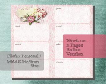 Filofax Personal / kikki K Medium Planner Printable (ITALIAN VERSION) Week On 2 Pages