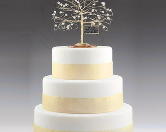 Anniversary cake etsy personalized wedding anniversary cake topper tree gift idea custom swarovski crystal elements on silver copper gold junglespirit Image collections
