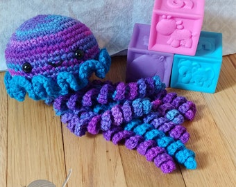 Jellyfish Stuffed Animal | Purple/Multi Jellyfish | Jellyfish Amigurumi | READY TO SHIP