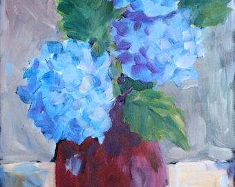 Hydrangea Painting - Acrylic Still Life - Flower Painting - Floral Painting  - fine art wall art - Impressionist Flower Painting