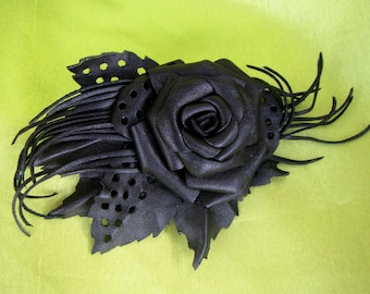 Black Rose Brooch leather, Black flower Brooch leather, Black Rose Brooch, leather brooch Black Rose, mothers day gift, Gothic brooch Rose