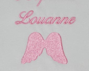 baptism baby girl pink personalized embroidered angel wing scarf