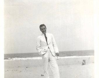 """Vintage Photo """"Summer Whites"""" Handsome Man In Summer Suit Beach Photo Black & White Found Vernacular Photo"""