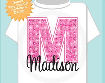 Monogram Shirt  Pink Initial Monogram Name Personalized Tee Shirt or Infant Onesie for Girls (02022014a)